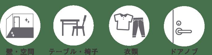 壁・空間、テーブル・椅子・衣類・ドアノブ